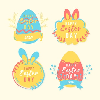 Easter day badge hand drawn with colourful eggs and ribbon