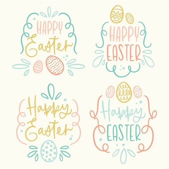 부활절 날 배지 손으로 계란과 글자를 사용 하여 그린