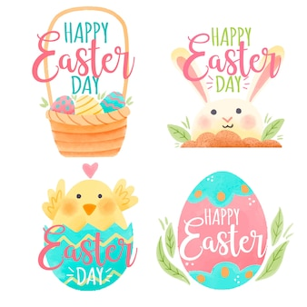 Easter day badge watercolour with bunny and chicken