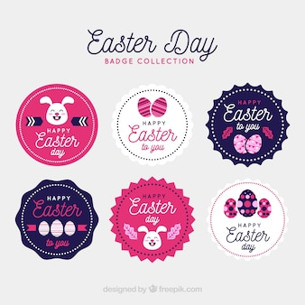 Easter day badges collection in flat style
