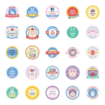 Easter day badges flat icons pack