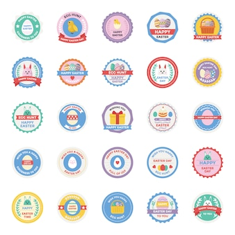 Easter day badges flat icons set