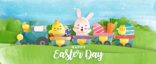 Easter day banner with cute chickens , rabbit and easter eggs in water color style .