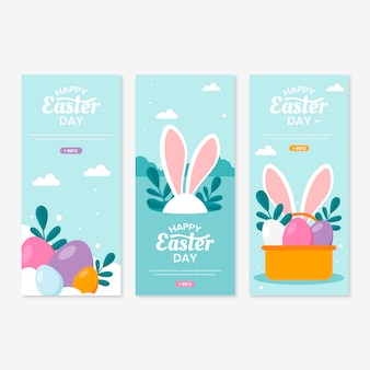 Easter day banners in flat design