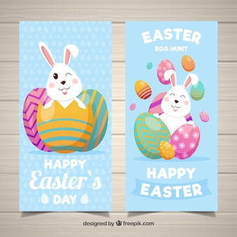 Easter day banners in flat style