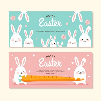 Easter day banners with bunnies