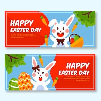 Easter day banners with bunny and carrots
