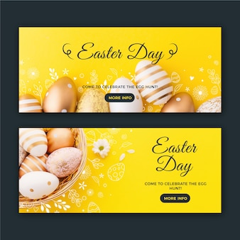 Easter day banners with golden eggs