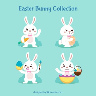 Easter day bunnies collection in flat style