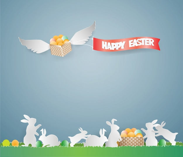 Easter day card design template with eggs in basket on the sky.