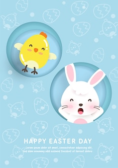 Easter day card with cute chickens , rabbit  in paper cut style.