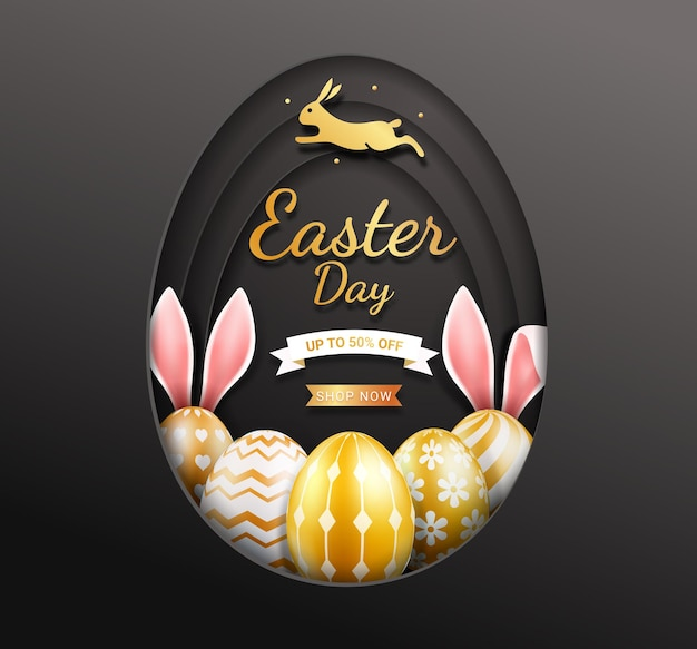 Easter day card with easter eggs in gold and color.
