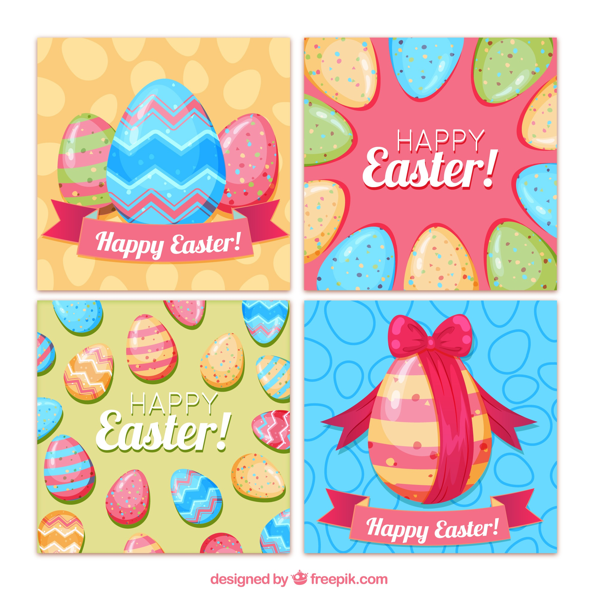 Easter day cards collection with colorful eggs