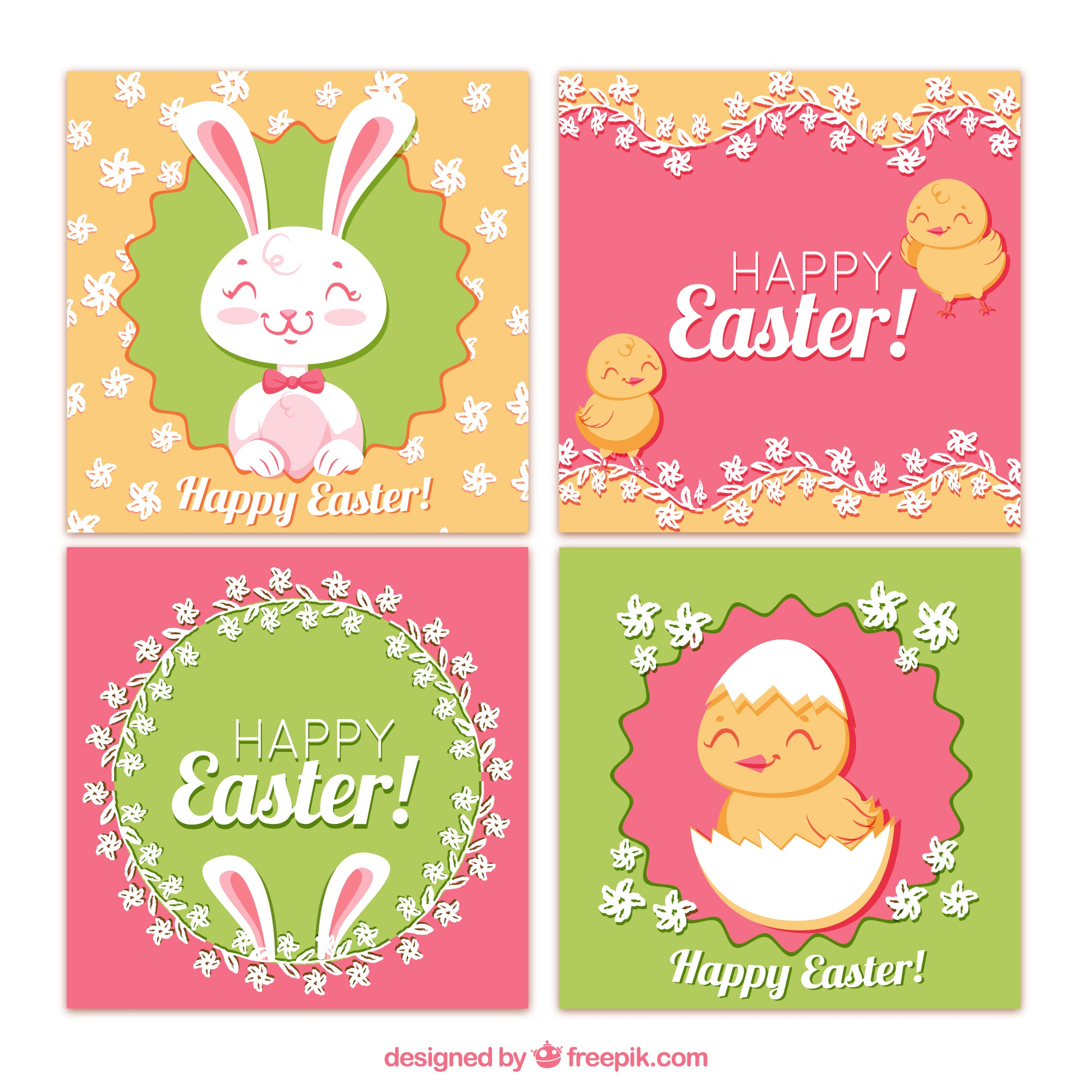 Easter day cards collection with cute animals