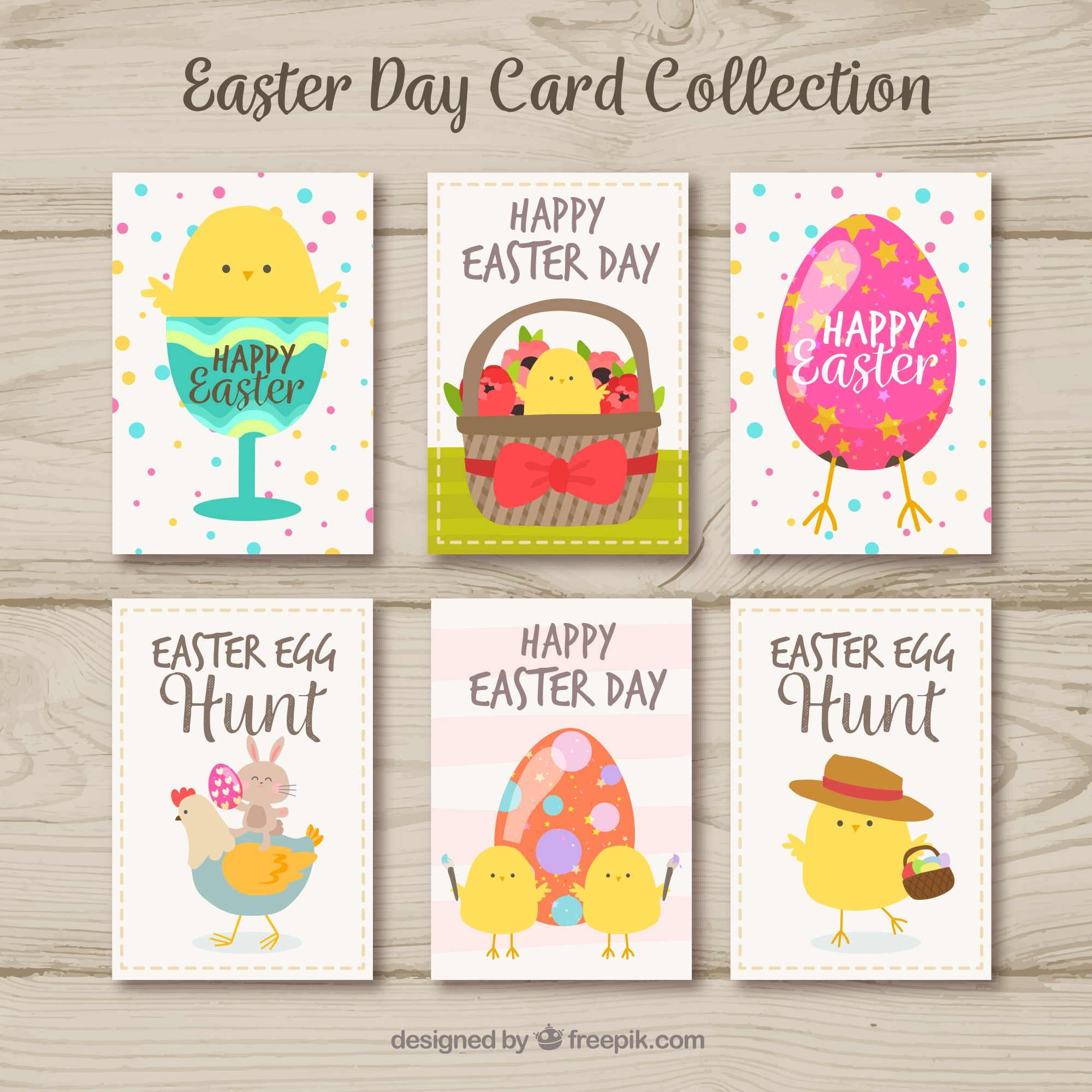 Easter day cards collection with cute birds