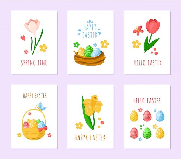 イースターの日カード-ピンクのチューリップ、黄色い水仙、スノードロップ、カラフルなイースターエッグ、バスケット