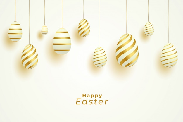 Easter day celebration with golden eggs decoration