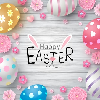 Easter day design of eggs and flowers