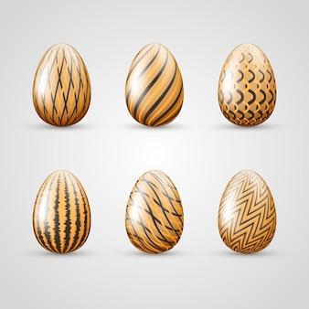 부활절 날 다른 계란 세트
