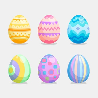 Easter day egg collection in flat design