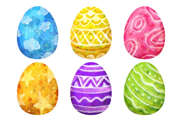 Easter day egg collection watercolor style