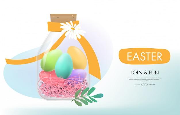 부활절 날 계란 화려한와 리본입니다.