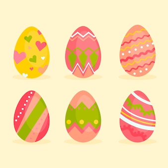 Easter day egg flat design collection