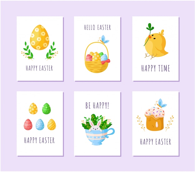 Easter day eggs, cartoon chicken, sweet cake, cute rabbit in tea cup, basket with easter eggs - cards