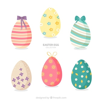 Easter day eggs collection in flat style