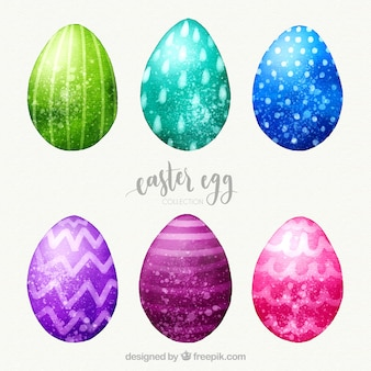 Easter day eggs collection in watercolor style