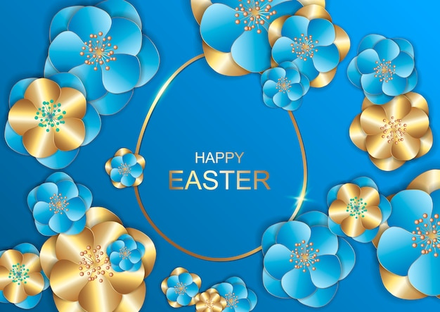 Easter day greeting card with blossoms flowers