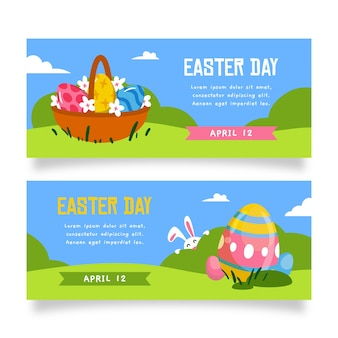 Easter day hand-drawn banner