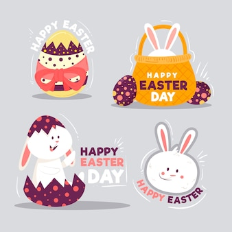 Easter day hand drawn label collection