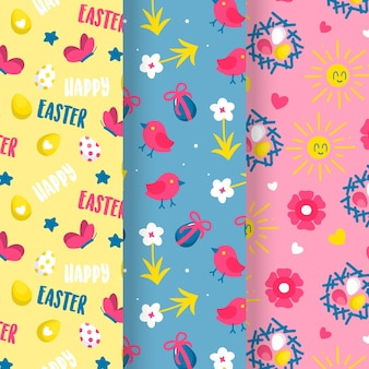 Easter day hand-drawn pattern collection