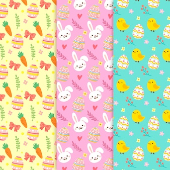 Easter day hand drawn pattern collection