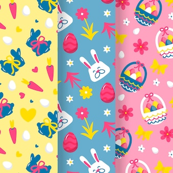 Easter day hand-drawn pattern set