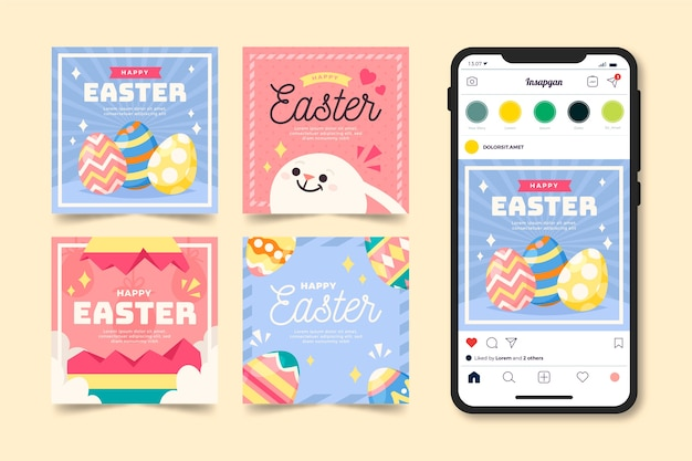 Easter day instagram post collection