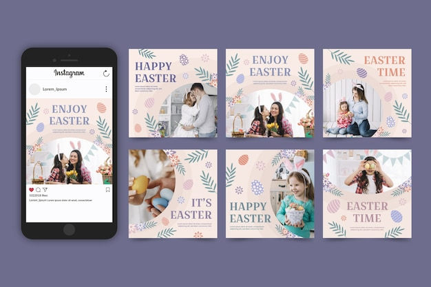 Easter day instagram posts pack