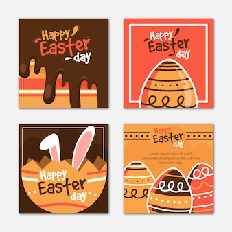 Easter day instagram posts set