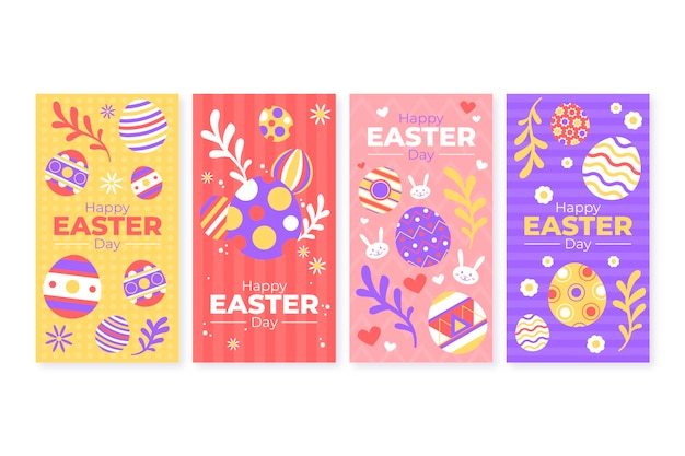 Easter day instagram stories collection concept