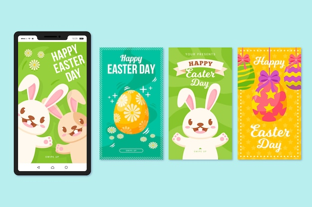 Easter day instagram stories with colourful eggs and happy bunnies