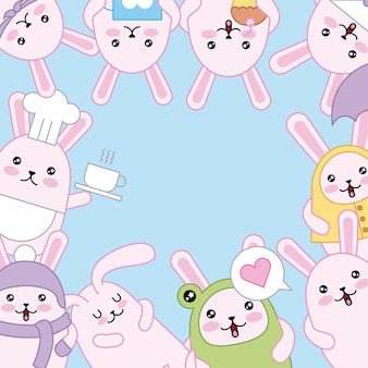 Easter day kawaii background