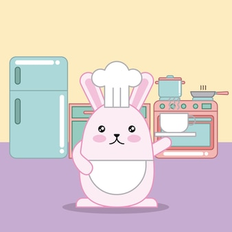 부활절 날 귀엽다 요리사 토끼 진지한 화려한 주방 준비 컵 커피