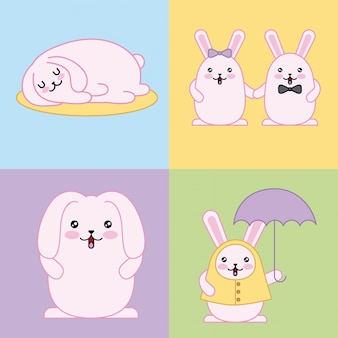 Easter day kawaii illustration