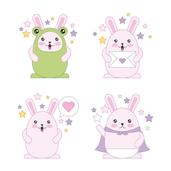 Easter day kawaii rabbits purple coat disguised smiling letter cute