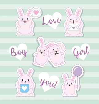 Easter day kawaii sticker set