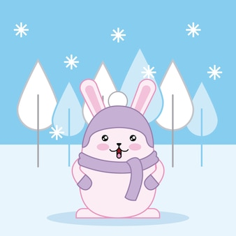 Easter day kawaii winter snowflakes cold day rabbit with scarf