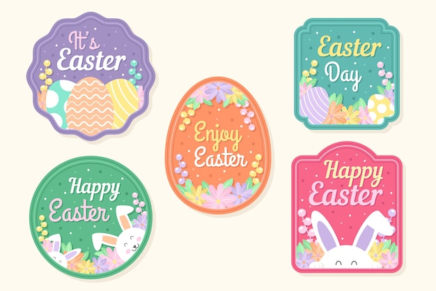 Easter day label collection design