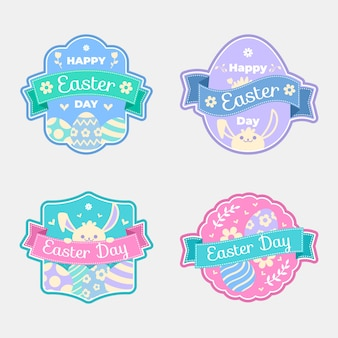 Easter day label collection in flat design