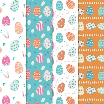 Easter day pattern collection in flat design